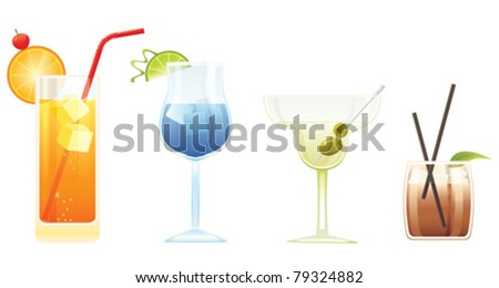 Tequila Sunrise, Blue Lagoon, Martini and El Diablo cocktails isolated on white background