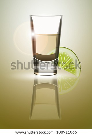 Tequila with lime. Eps10 .Image contain transparency and various blending modes. - stock vector