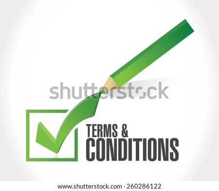 terms and conditions check mark illustration design over white - stock vector