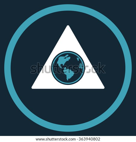 Terra Triangle vector icon. Style is bicolor flat circled symbol, blue and white colors, rounded angles, dark blue background. - stock vector