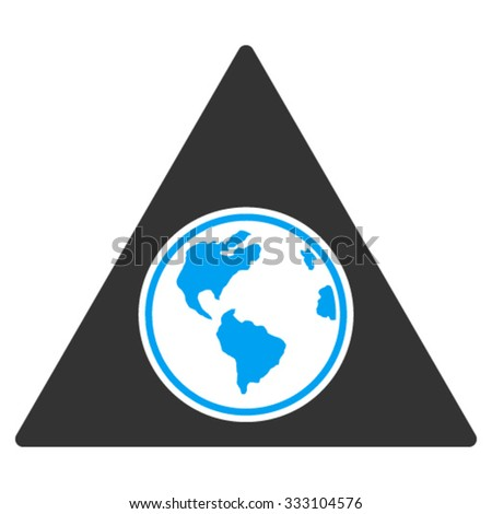 Terra Triangle vector icon. Style is bicolor flat symbol, blue and gray colors, rounded angles, white background.