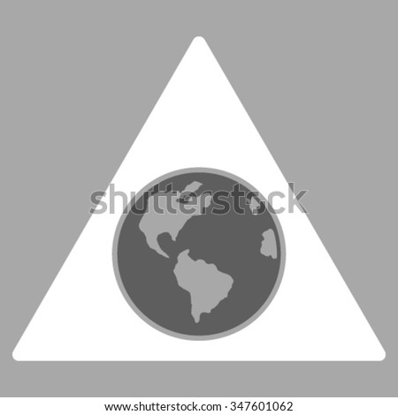 Terra Triangle vector icon. Style is bicolor flat symbol, dark gray and white colors, rounded angles, silver background.