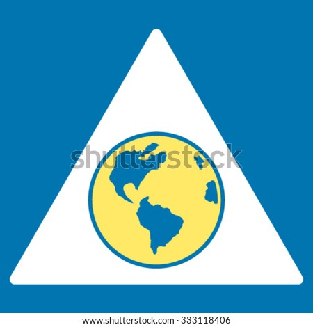 Terra Triangle vector icon. Style is bicolor flat symbol, yellow and white colors, rounded angles, blue background.