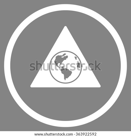 Terra Triangle vector icon. Style is flat circled symbol, white color, rounded angles, gray background. - stock vector