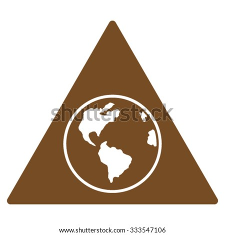 Terra Triangle vector icon. Style is flat symbol, brown color, rounded angles, white background.