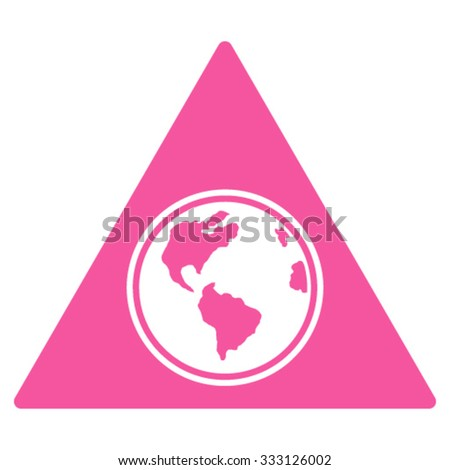 Terra Triangle vector icon. Style is flat symbol, pink color, rounded angles, white background. - stock vector