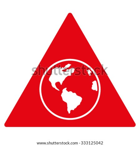 Terra Triangle vector icon. Style is flat symbol, red color, rounded angles, white background.
