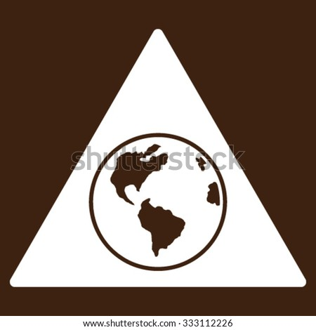 Terra Triangle vector icon. Style is flat symbol, white color, rounded angles, brown background. - stock vector