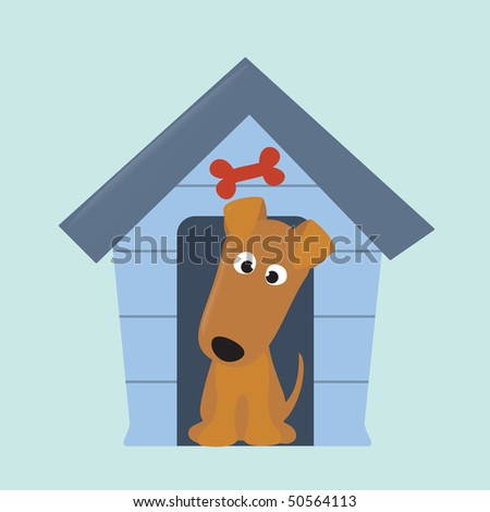 terrier puppy and new dog house - stock vector