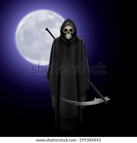 Terrifying Grim Reaper over full moon background - stock vector