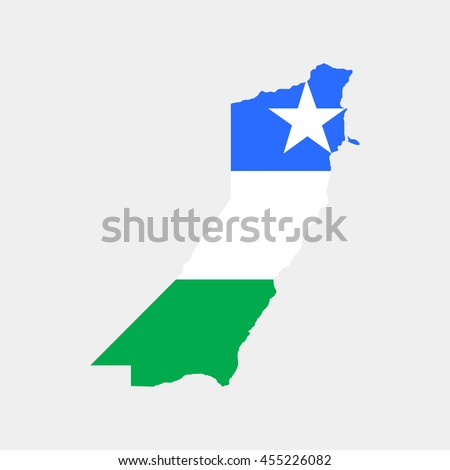 Territory and flag of Puntland - stock vector