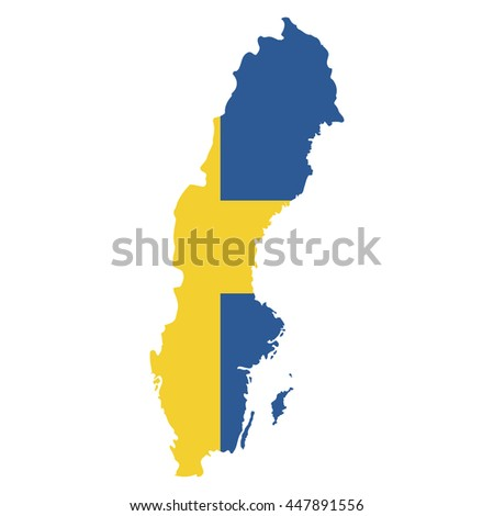 Territory and flag of Sweden - stock vector