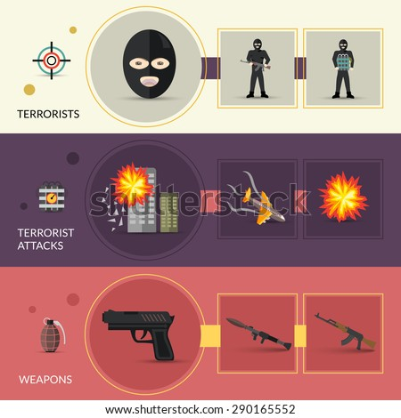 Terrorism horizontal banners set with terrorist weapons and attacks flat elements isolated vector illustration - stock vector