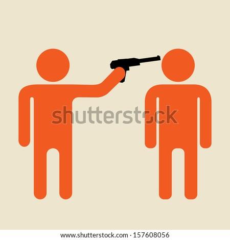 terrorist or criminal  and victim under the gun - stock vector