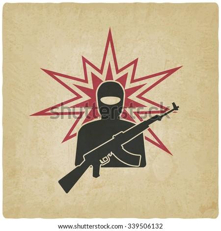 terrorist with gun old background. vector illustration - eps 10 - stock vector