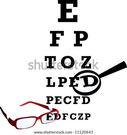 Test alphabet in oculist room. Vector illustration. - stock vector