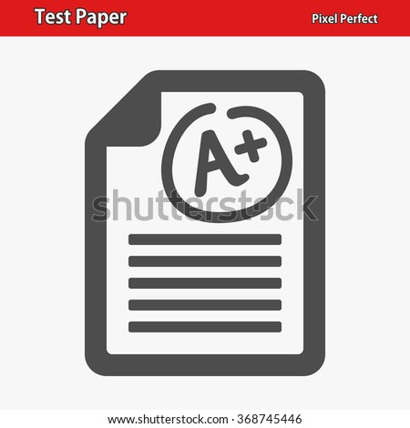 Test Paper Icon. Professional, pixel perfect icons optimized for both large and small resolutions. EPS 8 format. - stock vector