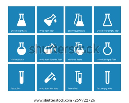 Test tube and flask icons on blue background. Vector illustration. - stock vector