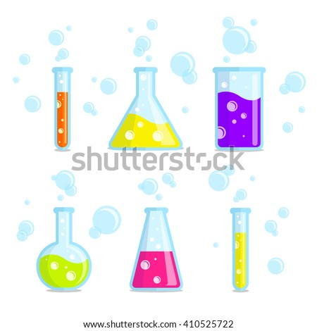 Test tubes, beakers, flasks and bubbles. Vector colorful icons. Good for use in the medical, chemical, scientific field. - stock vector