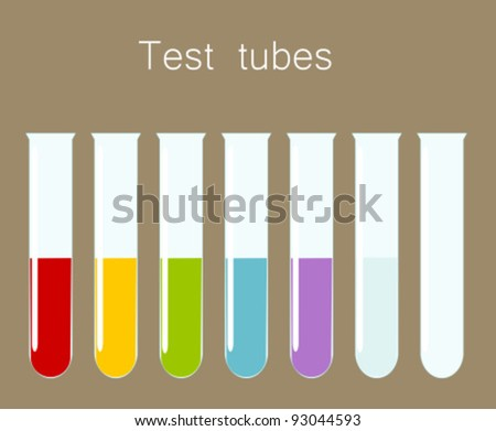 Test tubes with various liquids. Science vector illustration - stock vector