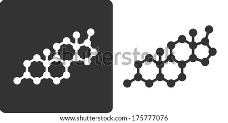 Testosterone hormone molecule, flat icon style. Simplified structure of testosterone, DHEA and related steroid hormones. - stock vector