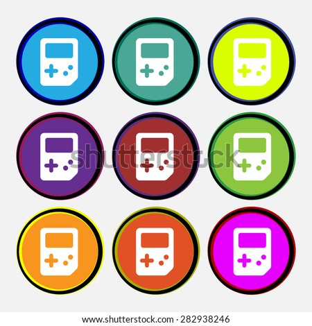 Tetris  icon sign. Nine multi-colored round buttons. Vector illustration - stock vector