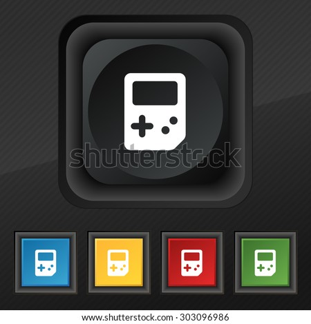 Tetris  icon symbol. Set of five colorful, stylish buttons on black texture for your design. Vector illustration - stock vector