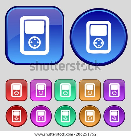 Tetris, video game console icon sign. A set of twelve vintage buttons for your design. Vector illustration - stock vector