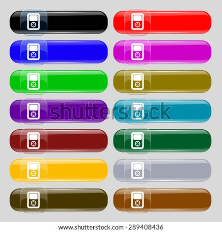 Tetris, video game console icon sign. Big set of 16 colorful modern buttons for your design. Vector illustration - stock vector