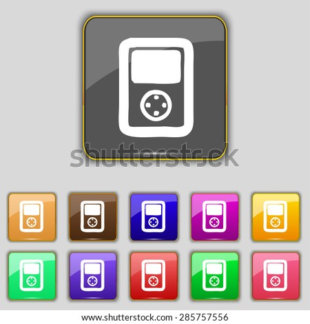 Tetris, video game console icon sign. Set with eleven colored buttons for your site. Vector illustration - stock vector