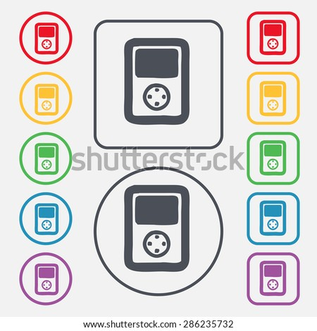 Tetris, video game console icon sign. symbol on the Round and square buttons with frame. Vector illustration - stock vector