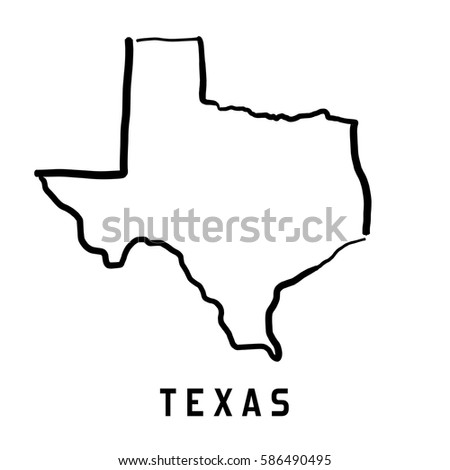 Texas Map Outline Smooth Simplified Us Stock Vector 586490495 - Us Map With States Outlined Vector