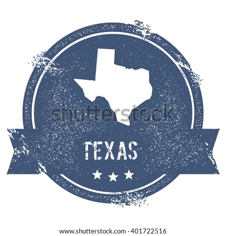 Texas mark. Travel rubber stamp with the name and map of Texas, vector illustration. Can be used as insignia, logotype, label, sticker or badge of USA state. - stock vector