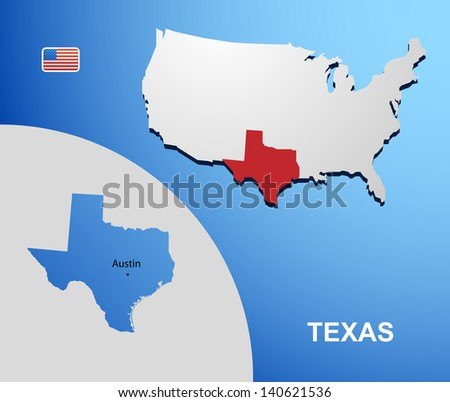 Texas On Usa Map Stock Vector Shutterstock - Texas on us map