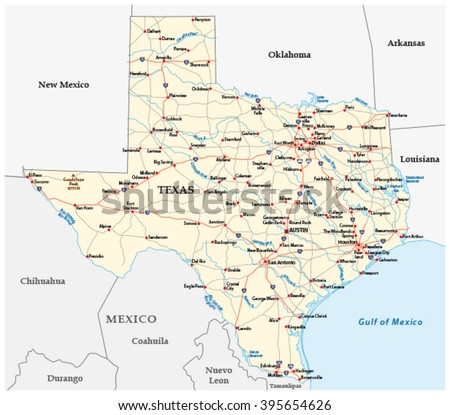 texas road map - stock vector