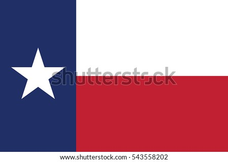 Texas State Flag, USA. Vector Format