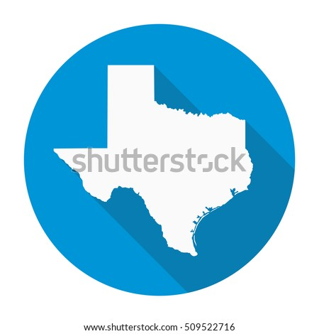 Texas state map flat icon with long shadow EPS 10 vector illustration.