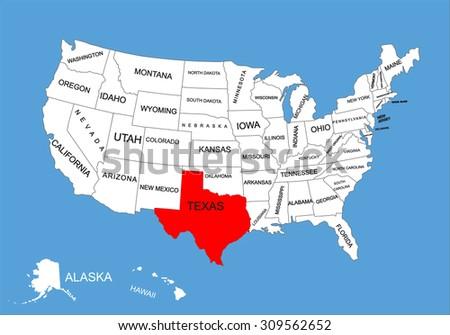 Texas Orange Vector Map High Detailed Stock Vector - Texas on us map