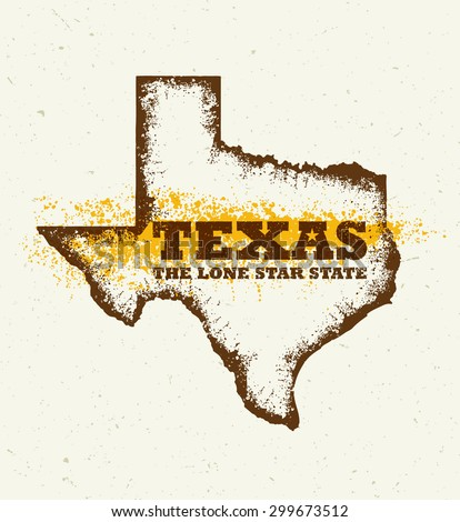 Texas The Lone Star USA State Creative Vector Concept On Natural Paper Background - stock vector