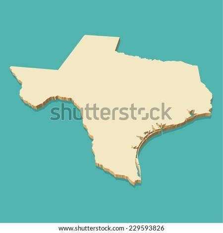 Texas Usa Map Vector Three Dimensional Stock Vector - Usa map texas