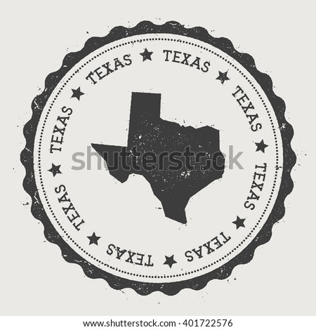 Texas vector sticker. Hipster round rubber stamp with US state map. Vintage passport stamp with circular Texas text and stars, USA map vector illustration. - stock vector
