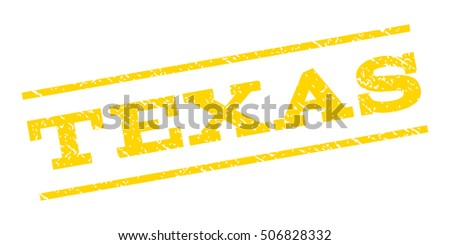 Texas watermark stamp. Text caption between parallel lines with grunge design style. Rubber seal stamp with dirty texture. Vector yellow color ink imprint on a white background.