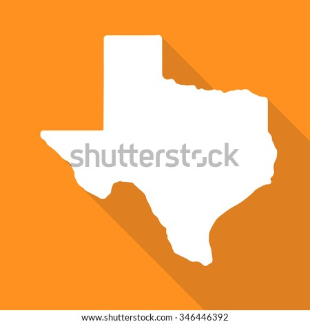 Texas white map,border flat simple style with long shadow on orange background. - stock vector