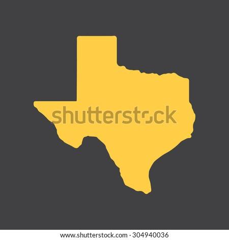 Texas yellow state border map. Vector illustration EPS8.  - stock vector