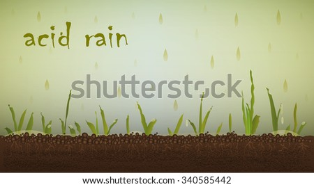 Text ``acid rain`` dying crops in soil  under the toxic rain, global pollution,vector - stock vector