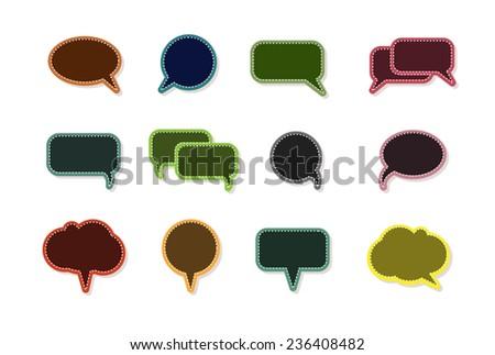 text balloon Vector speech bubble icons on vintage style  - stock vector