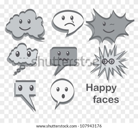 text balloon with happy face, gray color. vector illustration - stock vector
