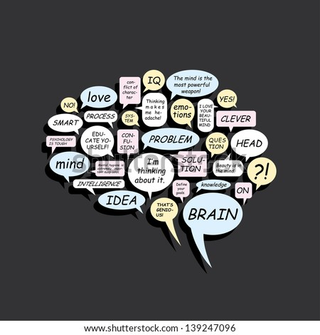 Text balloons if shape of the brain - vector illustration - stock vector