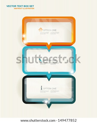Text box set. Frames ,step banners, option lines, colorful cubes with arrows and place for your text. - stock vector