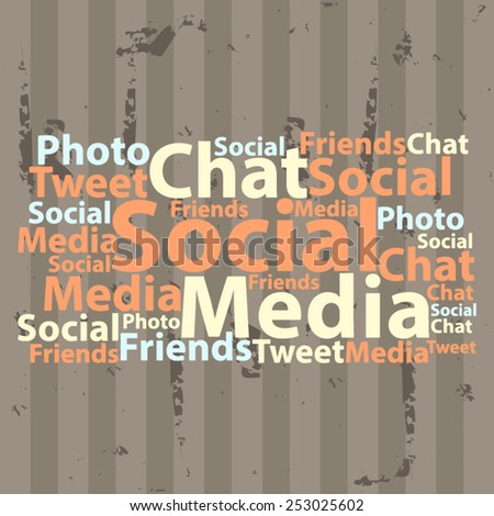 Text cloud. Social media wordcloud. Typography concept. Vector illustration.
